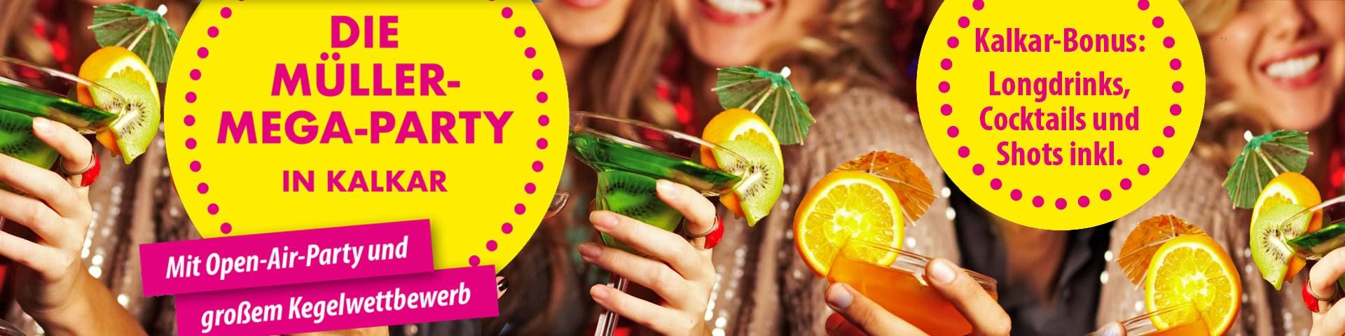 Die Müller-Mega-Party in Kalkar mit Getränke-Bonus