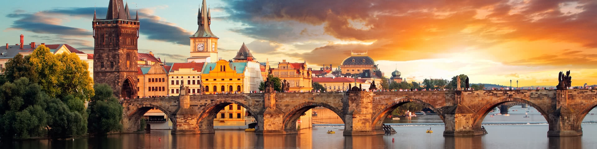 Karlsbrück in Prag bei Sonnenuntergang