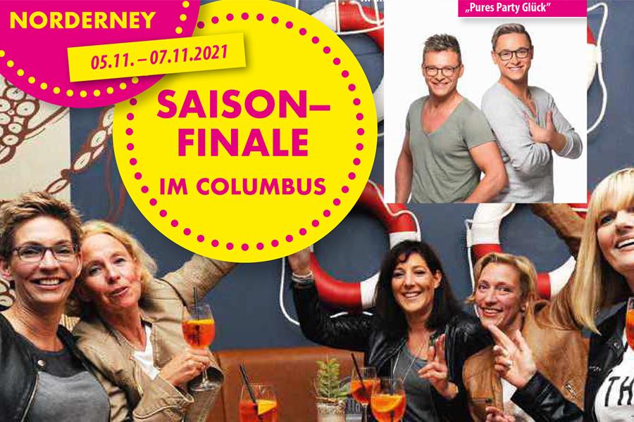 Sonderreise Norderney Saisonfinale im Columbus mit Pures Partyglück 05.11. - 07.11.2021