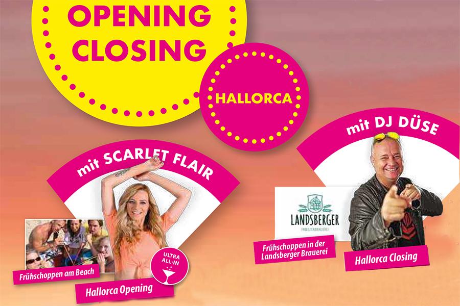 Sonderreise Hallorca Opening Closing mit Scarlet Flair und DJ Düse Frühschoppen am Beach Frühschoppen in der Landsberger Brauerei