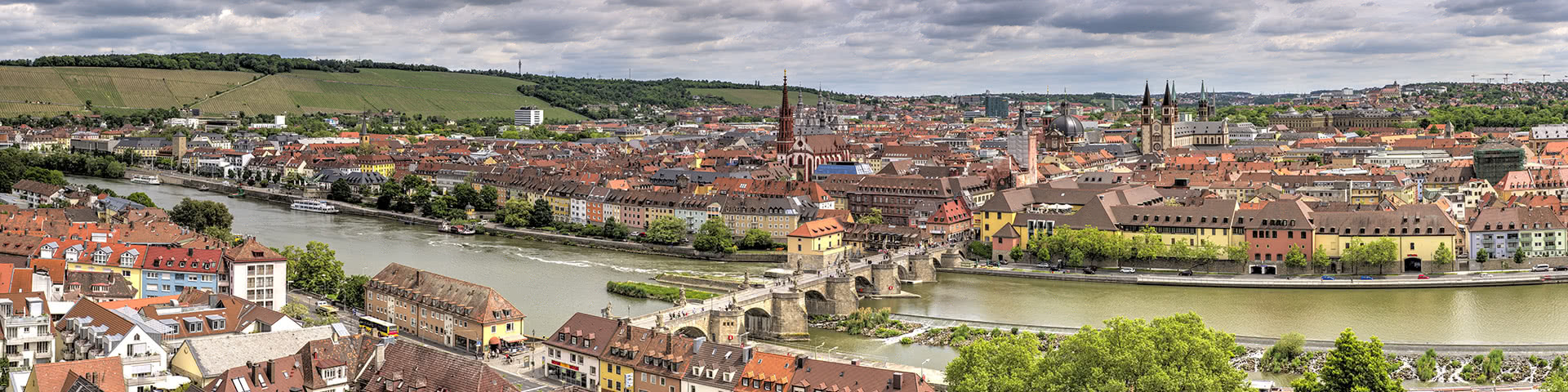 Übersicht über die Innstadt von Würzburg mit dem Fluß Main